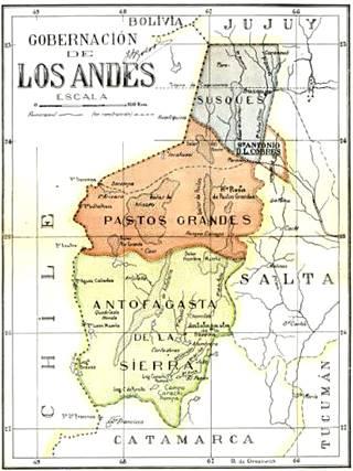 Mapa antiguo de la Gobernación de los Andes