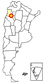 Map of Argentina showing where Shinkal Ruins is located