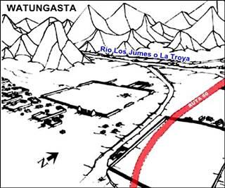 Plano de las ruinas Incas de Watungasta