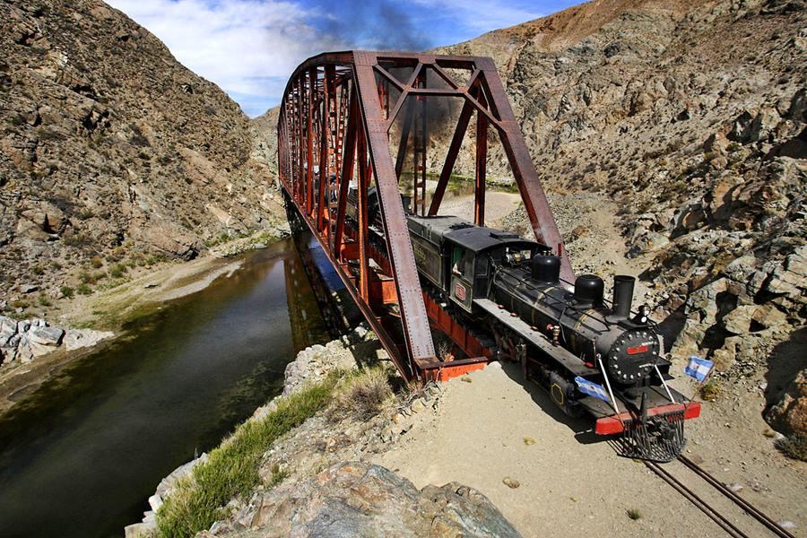 "The steam engine and 1940s wagons of the Viejo Expreso Patagonico train or ""La Trochita"""