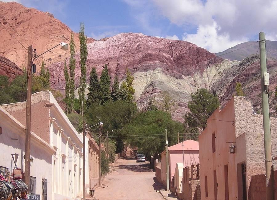 Multicolored hill, the Cerro de los Siete Colores in Purmamarca, Argentina