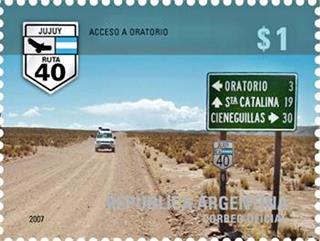 Argentine postage stamp on Ruta40 at Oratorio, Jujuy