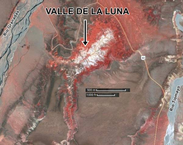Satellite view Valle de la Luna - Marte in Cusi Cusi