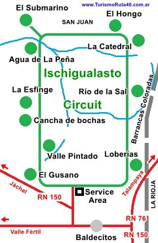 Map of Parque Ischigualasto with the circuit and landmarks