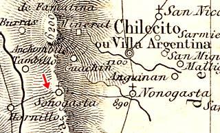 1864 map showing the road along Cuesta de Miranda