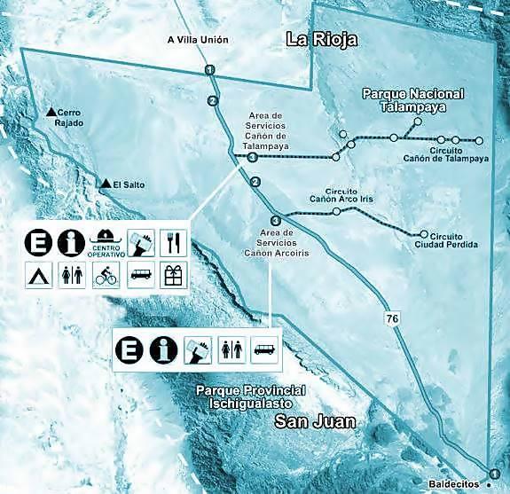 Map of the Parque Nacional Talampaya