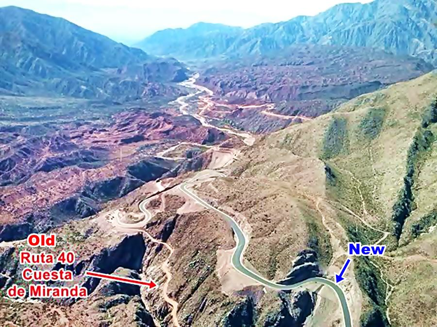 air view of the two alignments, old and new of Ruta 40 at the Cuesta de Miranda