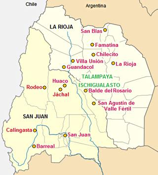 Map of towns in La Rioja and San Juan