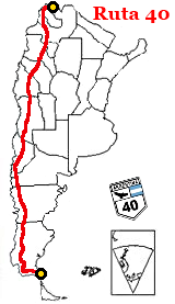 Map of Argentina showing the aligment of Ruta 40