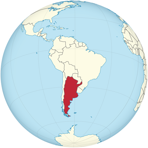 view of where Argentina is on a Western Hemisphere map