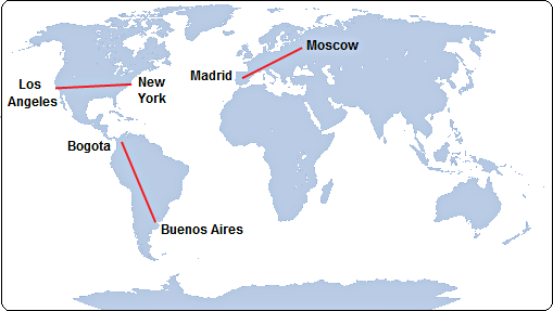 map comparing Route 40 length with distances between major global cities