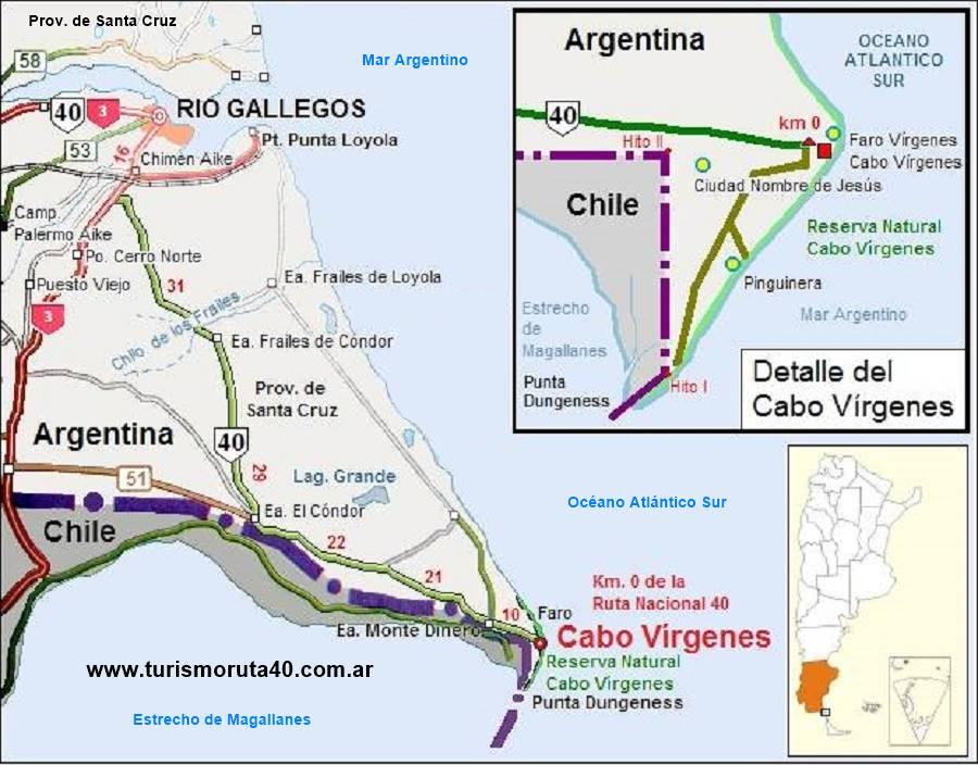 Mapa del tramo de la Ruta 40 en Cabo Vírgenes