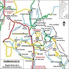 Mapa de Humahuaca Jujuy
