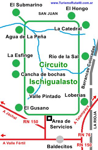 Mapa del Parque Ischigualasto