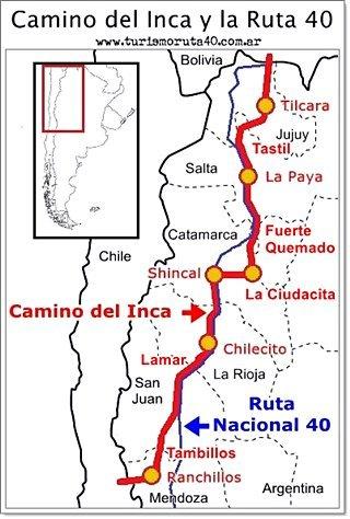 mapa del camino del inca en Argentina