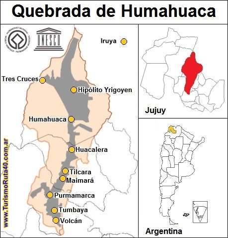 Mapa de la Quebrada de Humahuaca, sitio Unesco