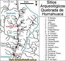 Mapa de los Sitios Arqueológicos de la Quebrada de Humahuaca, Jujuy