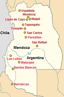 Map with some towns in Mendoza Province