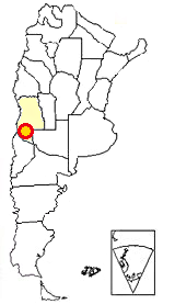 Map of Argentina showing where Payunia is located