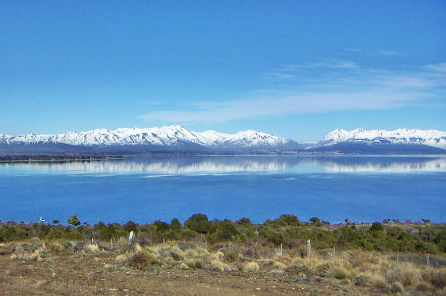 Bariloche and Lake Nahuel Huapi from the Limay River in Neuquén, Ruta 40, Road of the Seven Lakes