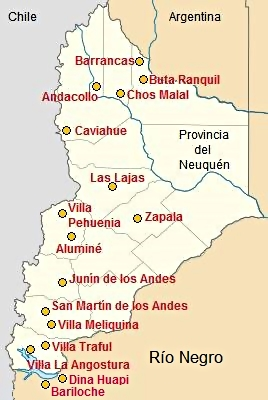 Map with some towns in Neuquen