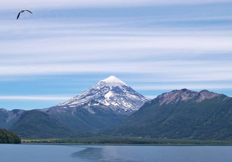 Cone of the Lanín volcano over lake Paimun in Junín de los Andes, Patagonia, Argentina