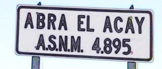 Road Sign: Abra El Acay