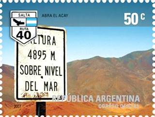Argentine postage stamp commemorating the Abra El Acay