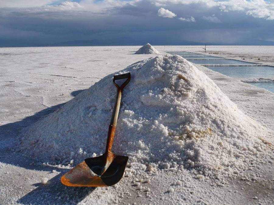 rusty shovel and pile of salt at the Salinas Grandes of Jujuy and Salta