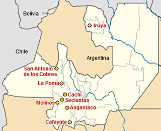 Map of cities in Salta on Ruta 40
