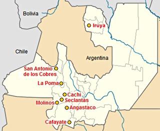 Mapa ciudades de Salta en la Ruta 40