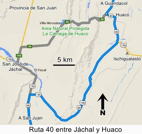 Mapa Jáchal a Huaco por Ruta 150 y Ruta 40, San Juan