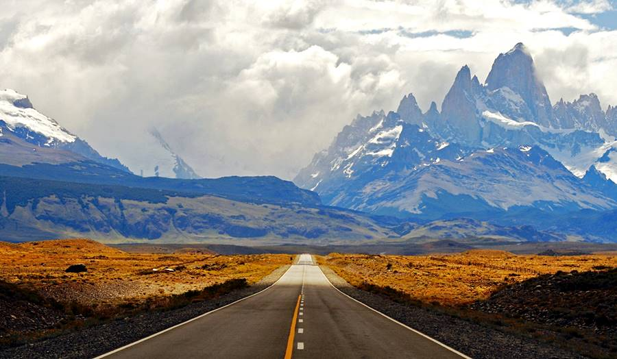 Cerro Fitz Roy and the paved highway into Chaltén, Patagonia, Argentina