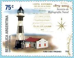 Estampilla de Correo Faro Cabo Virgenes